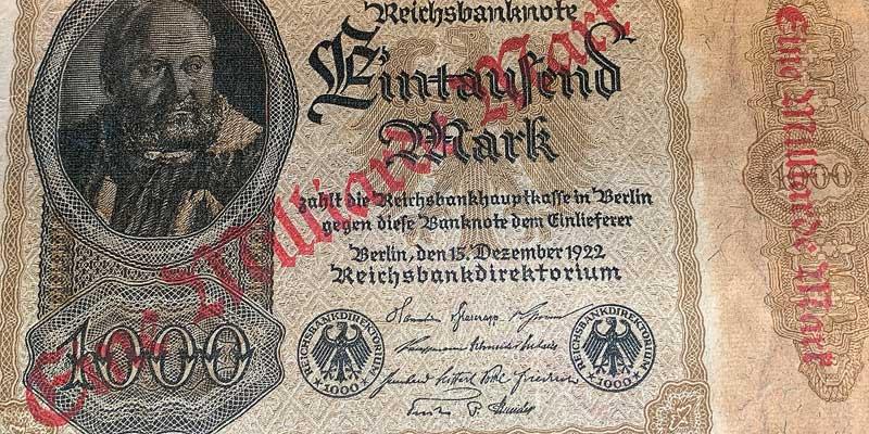 1 Miljard Mark. Ook Duitsland kende in de jaren 20 een periode van hyperinflatie