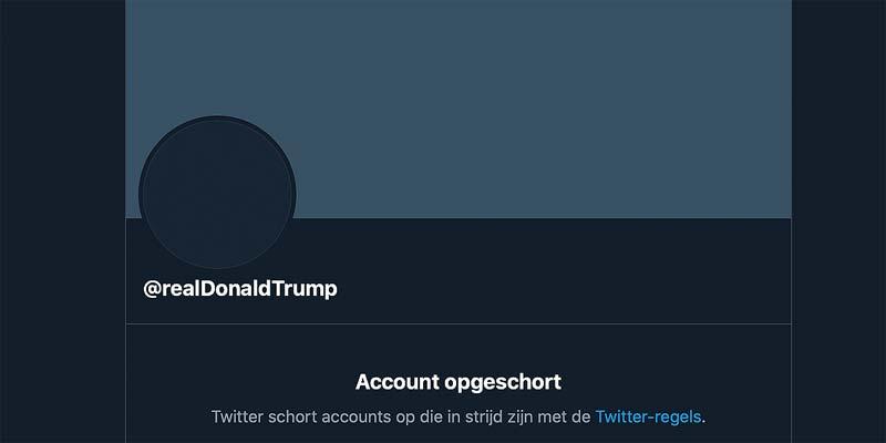 Het Twitter account van Donald Trump na de permaban