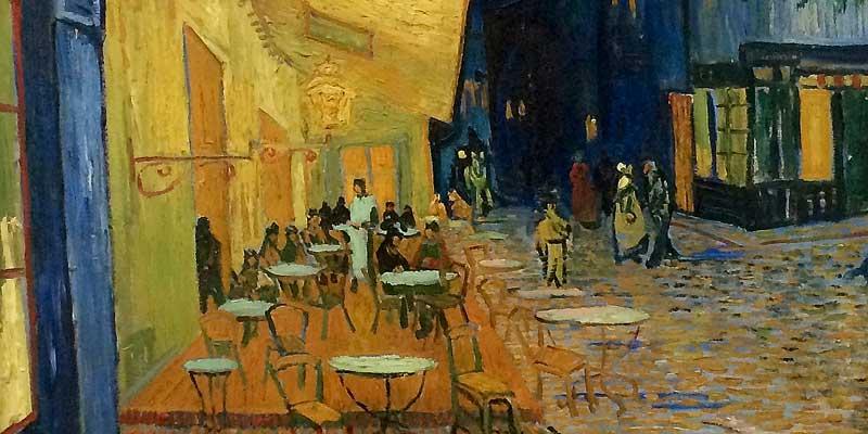Detail van Caféterras bij nacht. Een van de vele beroemde werken van Vincent van Gogh
