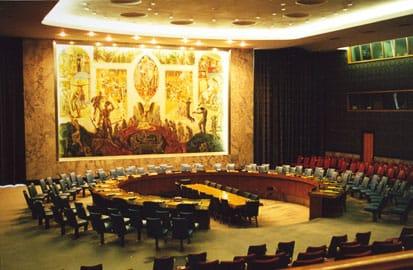 Belgie wordt lid van de VN, Eén van de vergaderzalen in het VN hoofdkantoor in New York